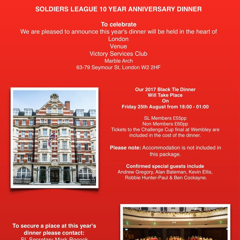 TICKETS TO CELEBRATE SOLDIERS LEAGUE 10 YEAR  ANNIVERSARY DINNER SOLD OUT
