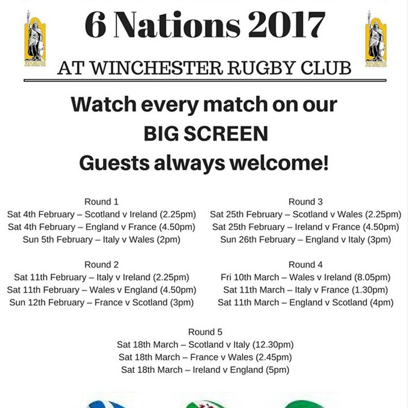 3 WEEKS & COUNTING - 6 NATIONS WATCH EVERY GAME AT THE CLUB