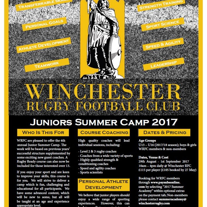 2017 WRFC Juniors Summer Academy now taking bookings!