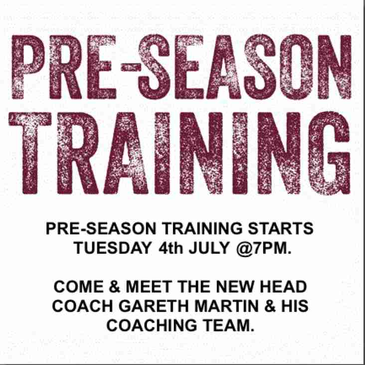 Seniors Pre-Season Training - STARTS JULY 4TH
