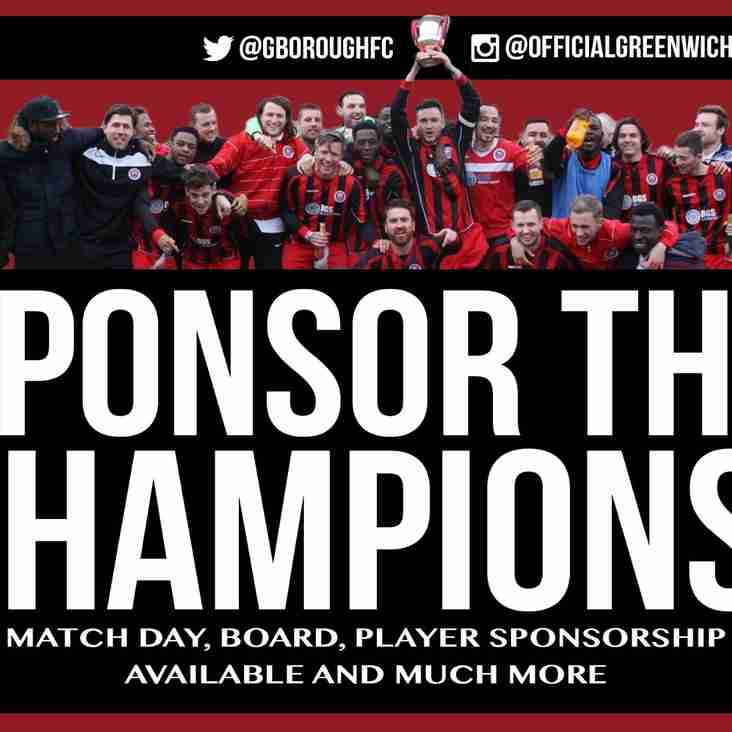 Sponsorship Options for all pockets with Greenwich Borough FC