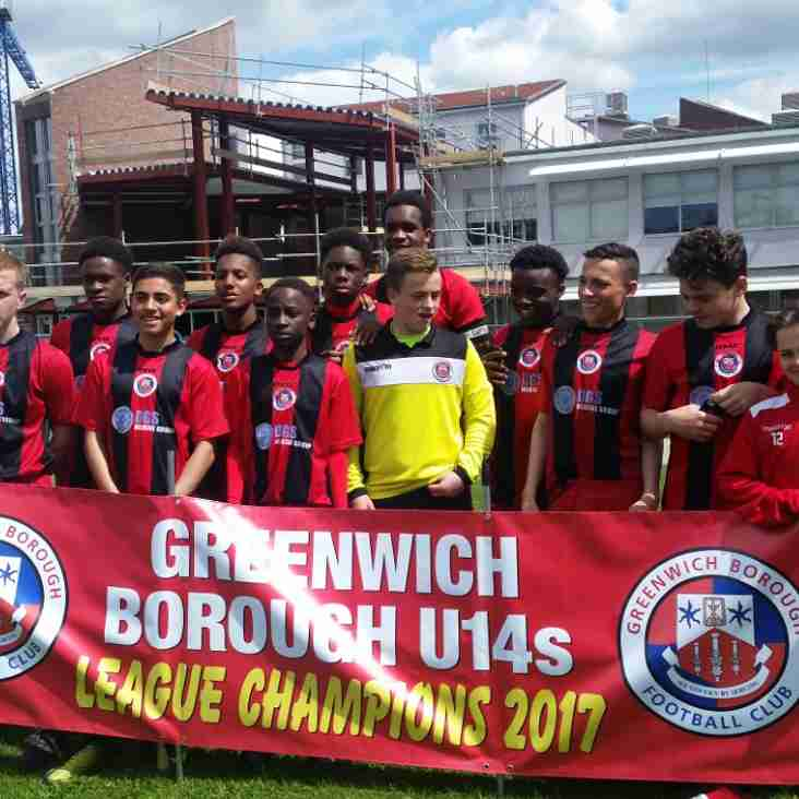 Greenwich Borough U14's become Kent League Champions