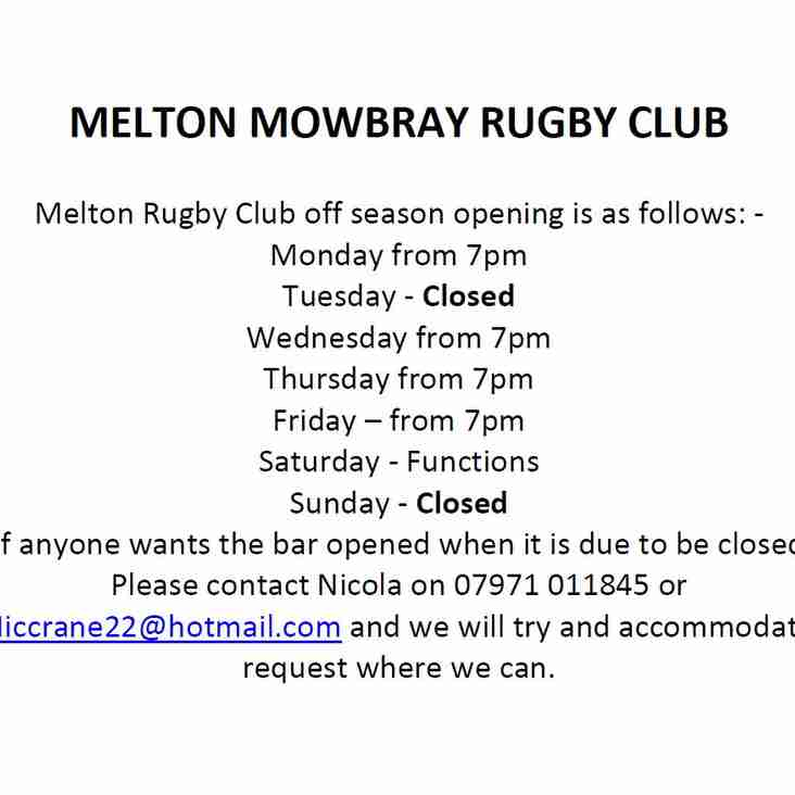 Club House Opening Hours