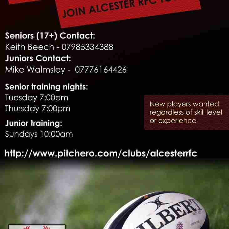 Interested in playing? Join Alcester RFC Today
