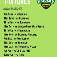 Guernsey Raiders 2019/20 Away Fixtures