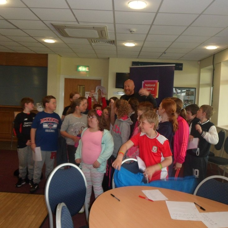 Great day at Bangor City FC Hosting Literacy Trust Club Author Event!<