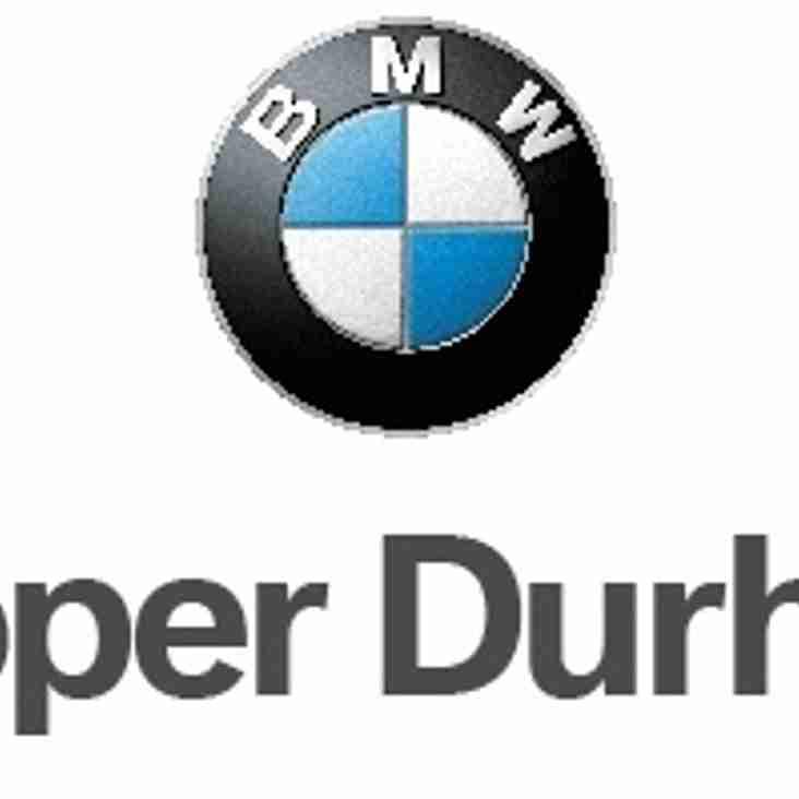 COOPER DURHAM BMW MATCHDAY SPONSOR FOR SATURDAYS FIXTURE
