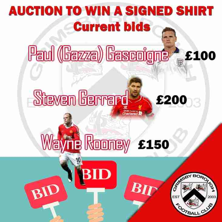 Current bids on the signed shirts