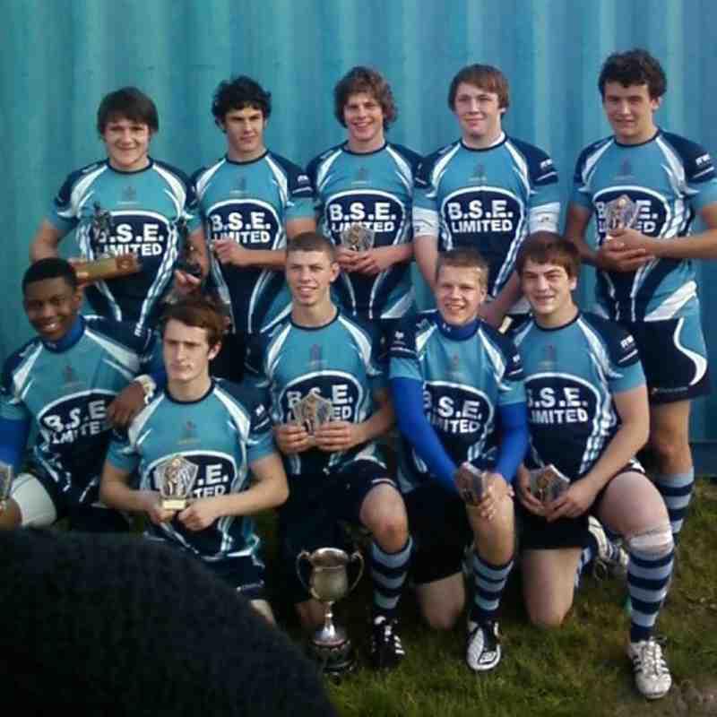 "Mumbles Youth 7""s Squad who won the Jonathon Davies Trimsaran 7""s  Cup 2011"