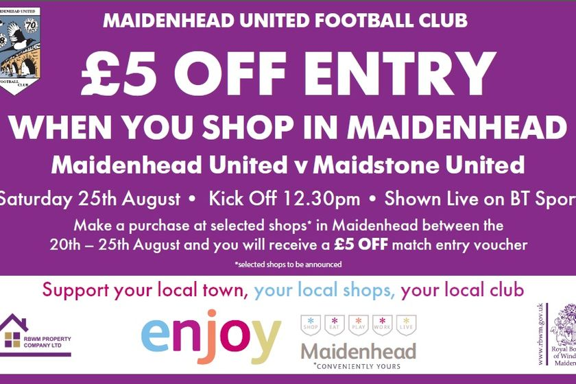 £5 off matchday admission offer - Support your Town