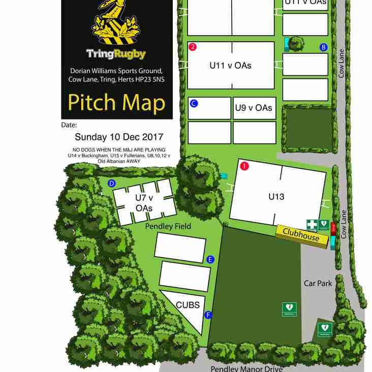 Pitch allocation 10 December 2017 - **cancelled**