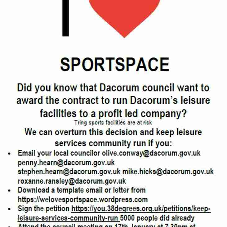 Keep Sportspace leisure centre services community managed; get involved