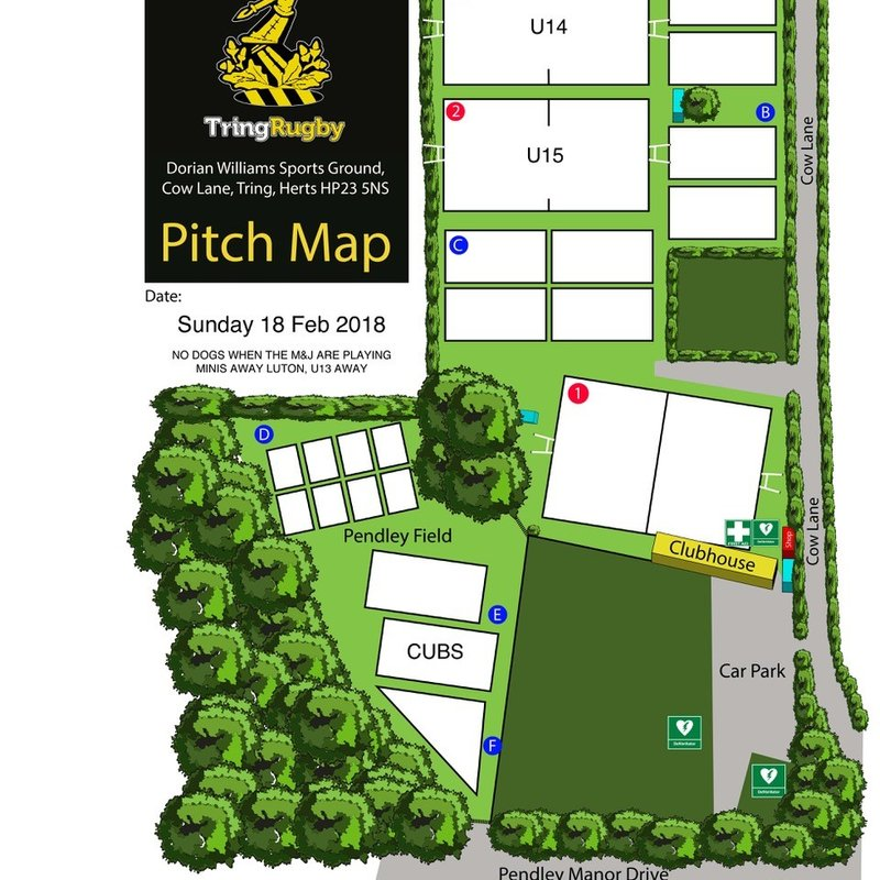 Pitch allocations, Sunday 18 February 2018