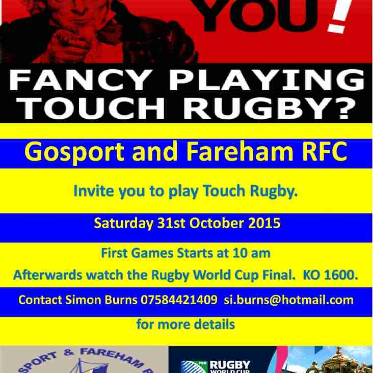 COME AND PLAY TOUCH RUGBY