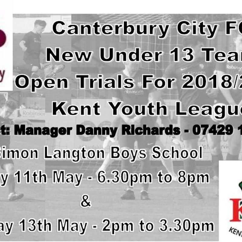 City U13 Kent Youth League Trials