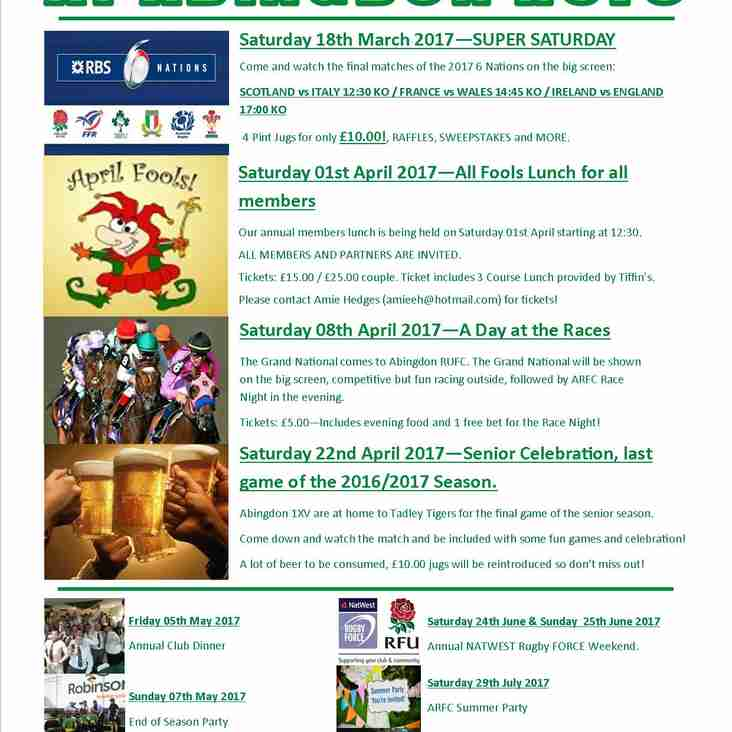 Check your diaries - upcoming events hosted by Abingdon RFC!!