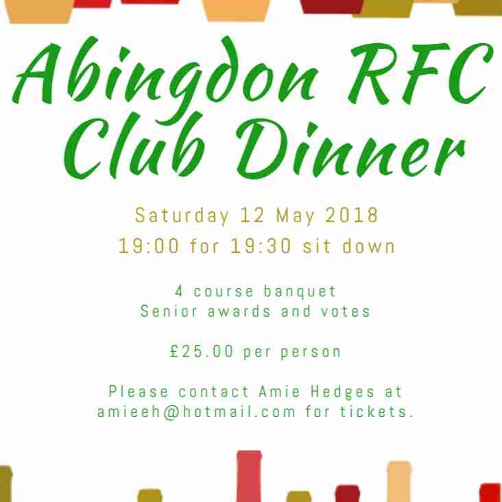 Abingdon RFC Club Dinner tickets now on sale!!