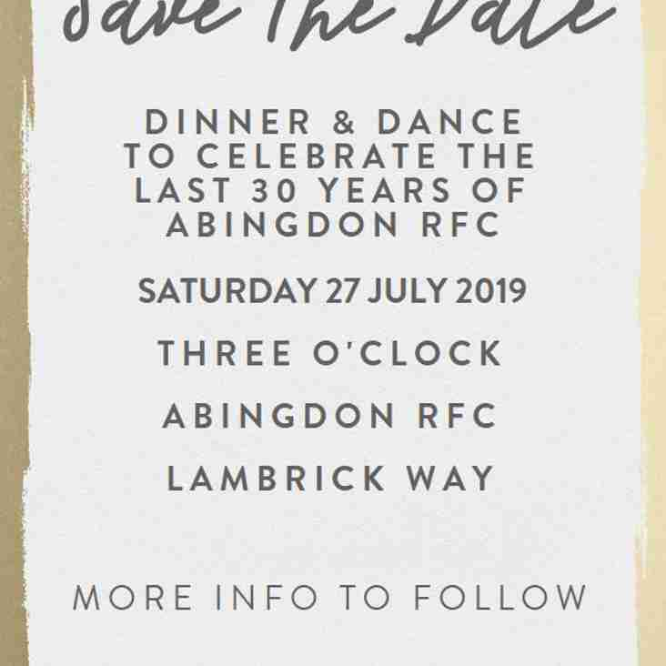 SAVE THE DATE - Abingdon RFC 30th Anniversary Celebratory Ball