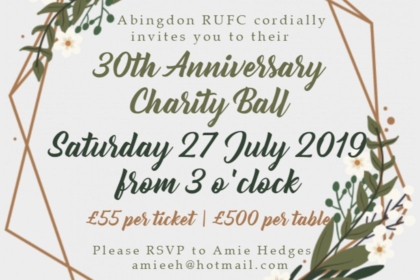 Abingdon RUFC 30th Anniversary Charity Ball - Tickets now on sale!