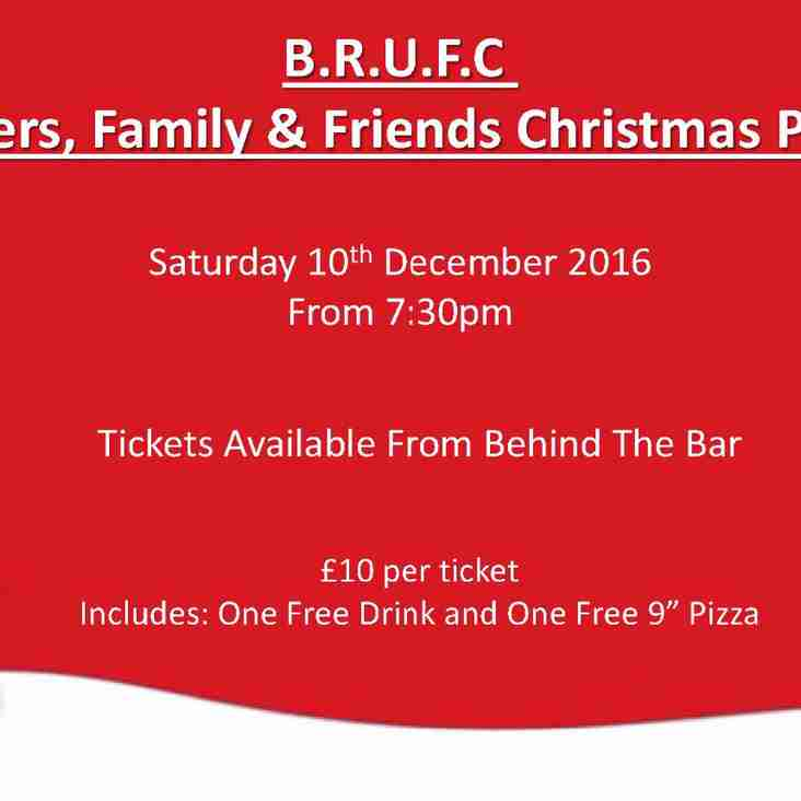 BRUFC PLAYERS FAMILY & FRIENDS CHRISTMAS PARTY SAT 10th DEC from 7:30pm