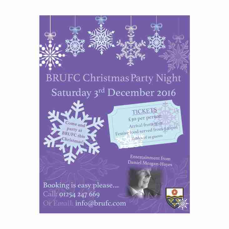 BRUFC CHRISTMAS PARTY NIGHT - SATURDAY 3rd DEC 2016