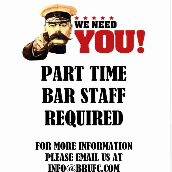 PART TIME BAR STAFF WANTED