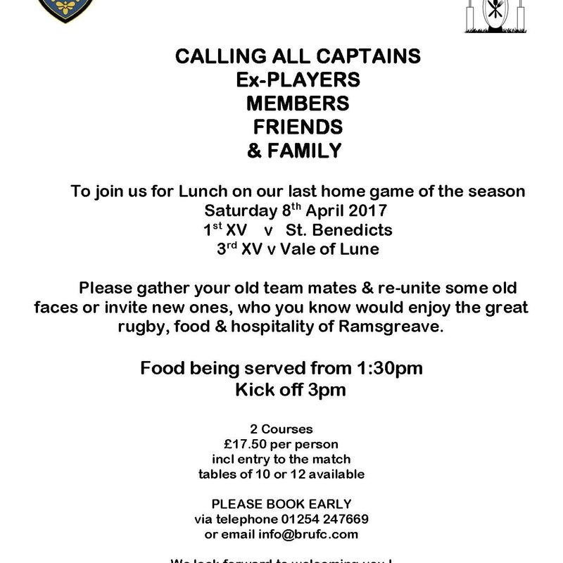 CALLING ALL CAPTAINS Ex PLAYERS MEMBERS FRIENDS & FAMILY