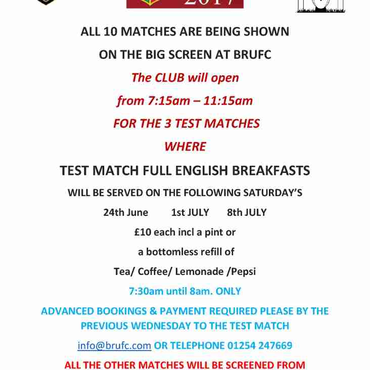 BRUFC SCREENING ALL 10 LIONS TESTS !