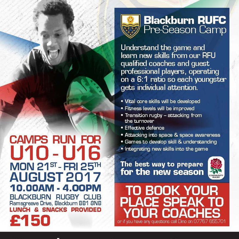 SUMMER RUGBY CAMP FOR U10's to U16's