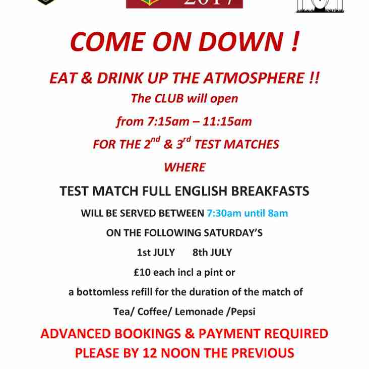 COME ON DOWN ! 2nd  LIONS TEST BREAKFAST - ORDERS BEING TAKEN NOW !