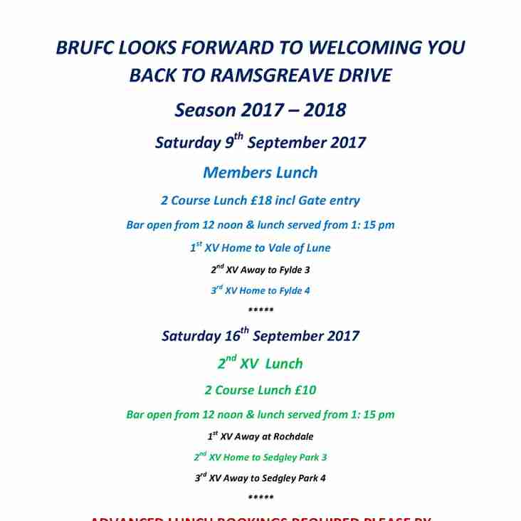 BRUFC LOOKS FORWARD TO WELCOMING YOU BACK  TO RAMSGREAVE DRIVE