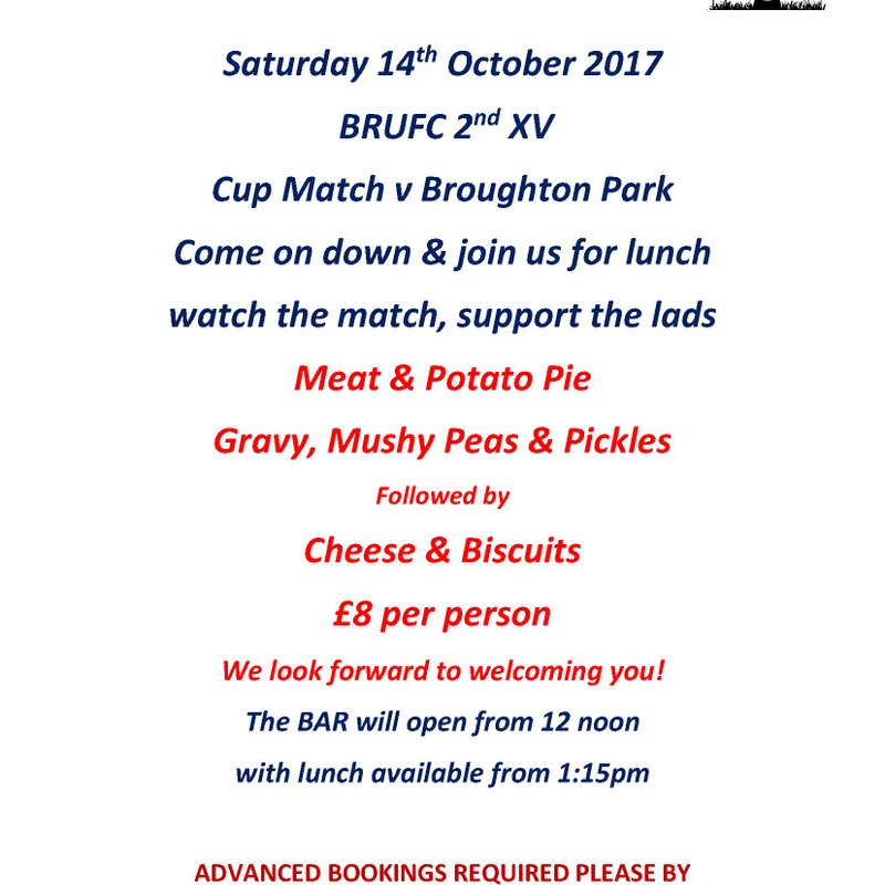 Sat 14th October 2017 - 2nd XV Lunch v Broughton Park Cup Match
