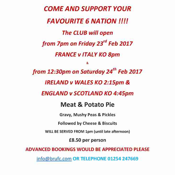 6 NATIONS WEEKEND @ BRUFC 23rd & 24th FEB 2018