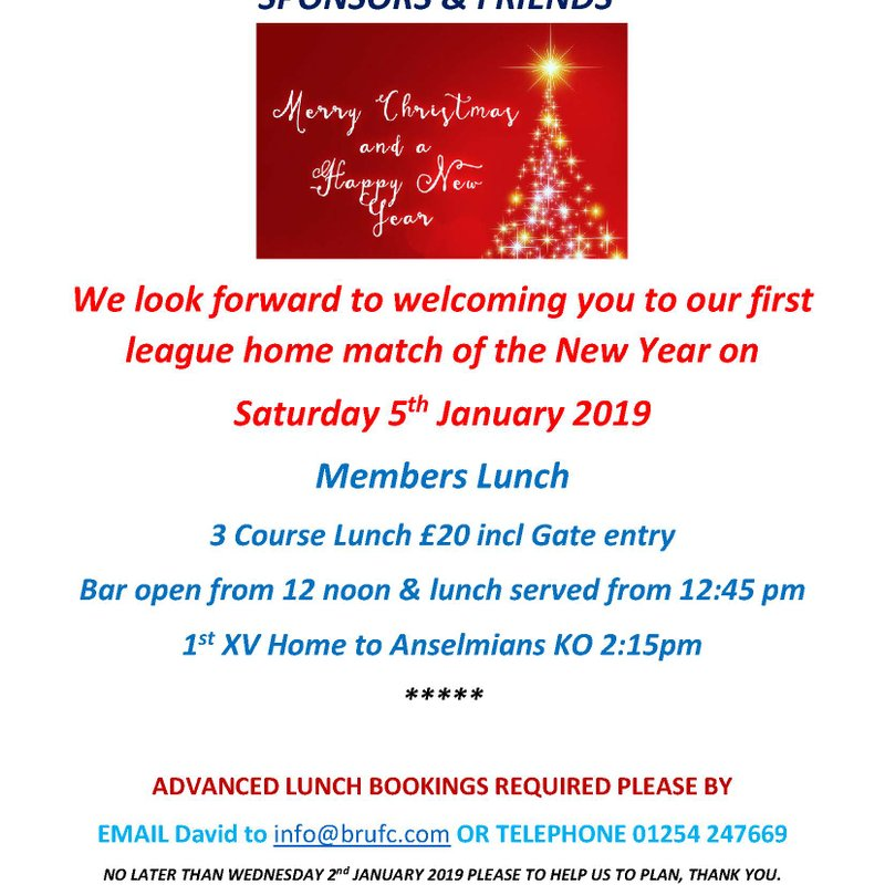 WHY NOT HELP US TO BRING IN THE NEW YEAR - 1ST XV LUNCH SAT 5TH JAN 2019