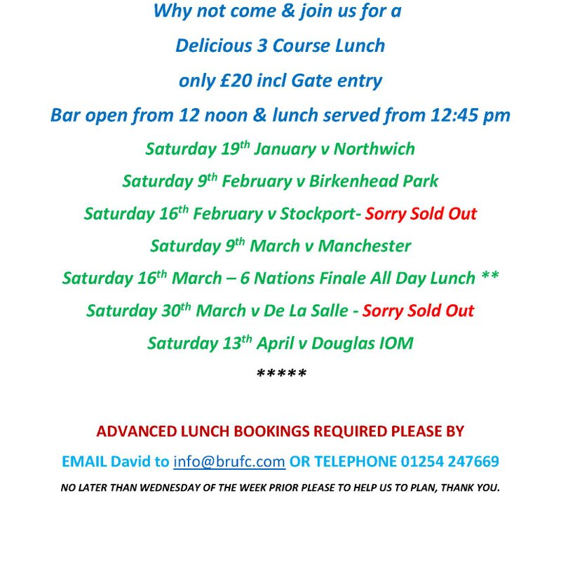 BRUFC  1st XV Match Day Lunches Everybody Welcome !