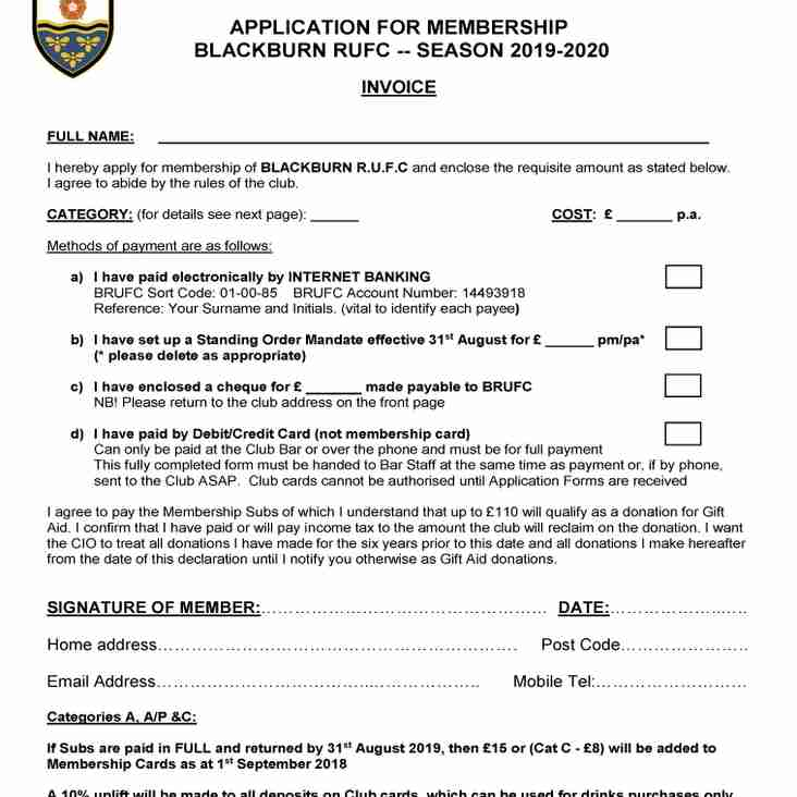BRUFC NEW SEASON MEMBERSHIP APPLICATION FORMS OUT NOW !!