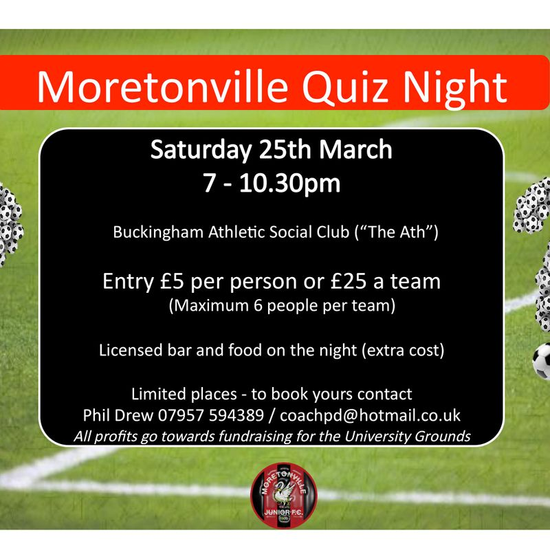 Book your places for the MJFC Quiz Night