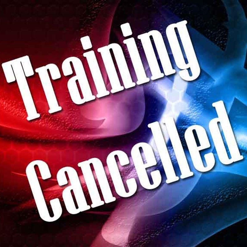 U13's TRAINING CANCELLED Thursday 27th April