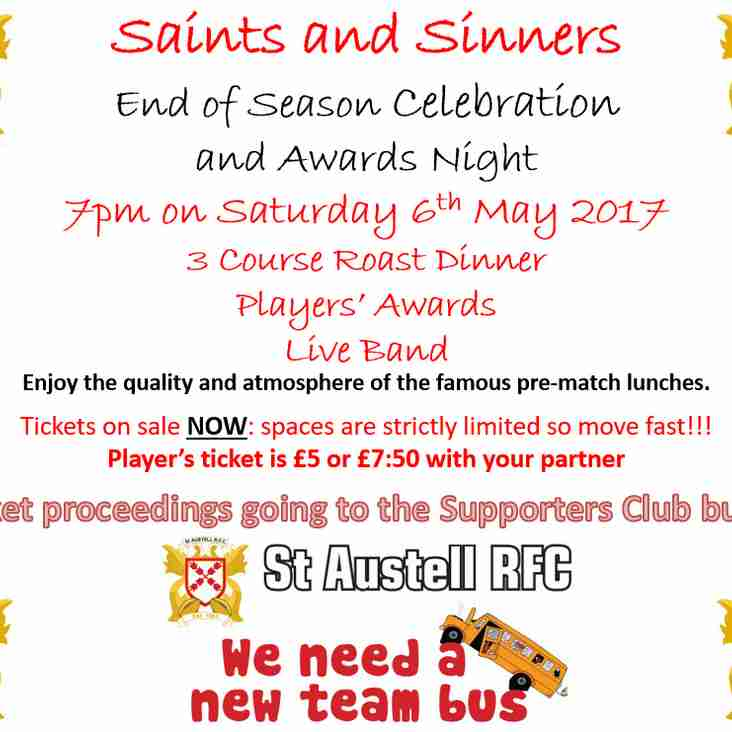 End of Season Awards - Tickets now on sale!