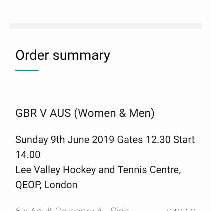 2 Tickets available for GB v Australia - first come first served