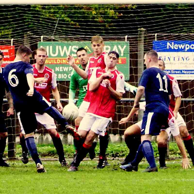 Spa defend a corner vs Newport Town (A) photo courtesy of Mathew Mason