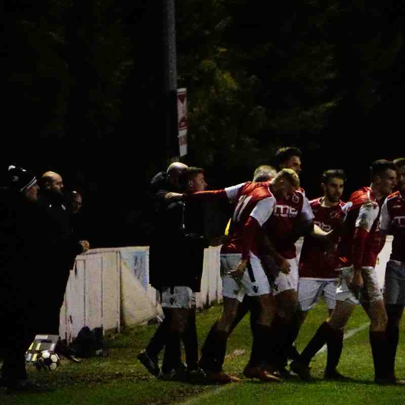 Spa players celebrate the winner vs Allscott (H) photo courtesy of Mathew Mason