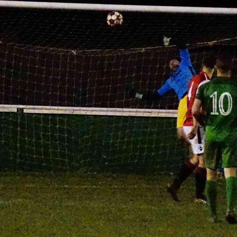 Matt Oliver stretches to make a save vs Allscott (H) photo courtesy of Mathew Mason
