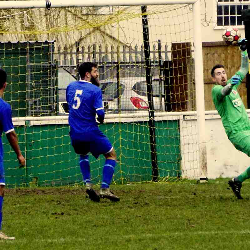 Matt Oliver makes a save vs Redditch Borough (H) WJC S/F