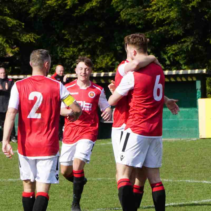 Jack Allerton congratulated on his wonder goal vs Bromyard Town (H) photo courtesy Mathew Mason