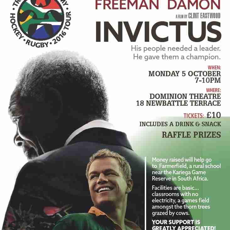 "Fundraising  ""Invictus"" film night at the Dominion on Monday 5 Oct."
