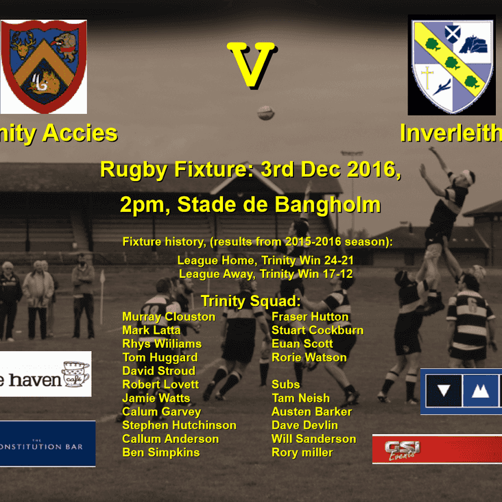 Next game Trinity v Inverleith at Bangholm 3rd Dec 2016