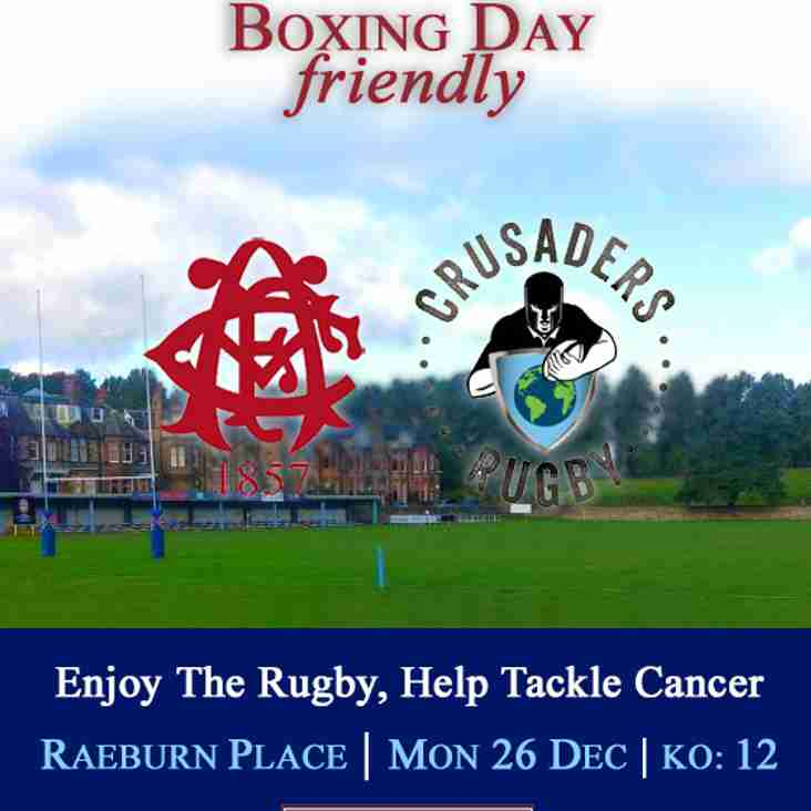 Boxing Day 2016 - Edinburgh Accies v Crusaders 12:00 at Raeburn Place