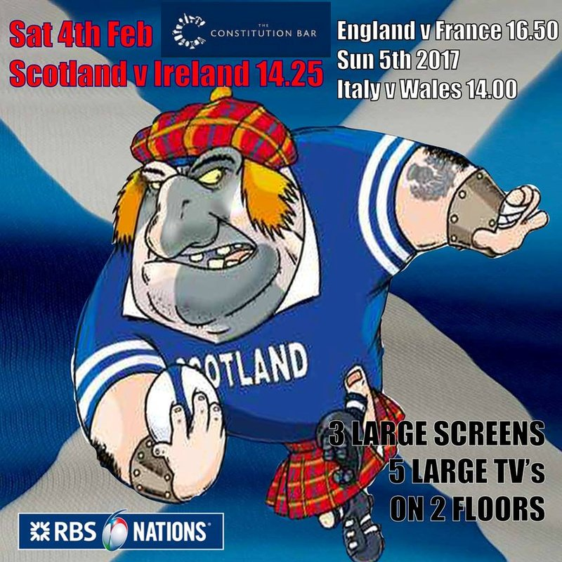 6 nations at The Constitution Bar & Grill in Leith this weekend