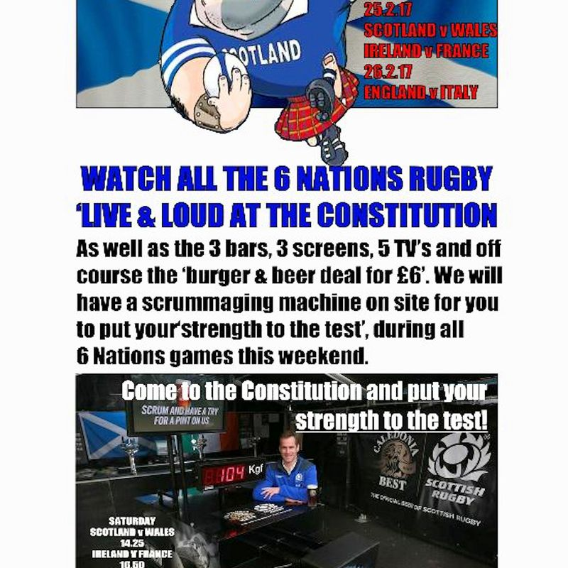 Scrumdown for 6 nations at Constitution Bar & Grill this weekend